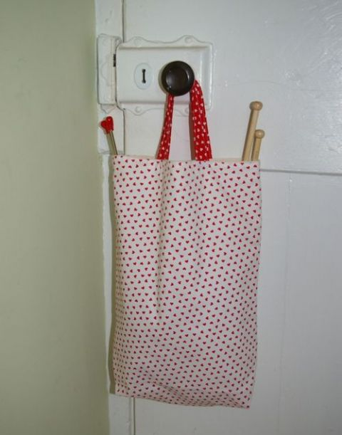 Lined cotton knitting bag - heart print